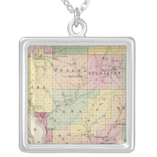 Map of Buffalo County and Village of Alma Silver Plated Necklace