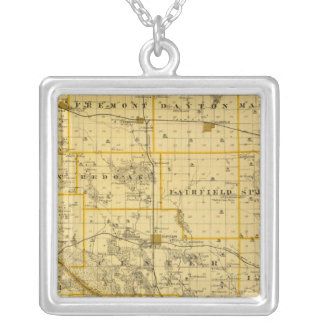 Map of Cedar County, State of Iowa Silver Plated Necklace