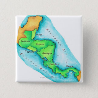 Map of Central America 15 Cm Square Badge