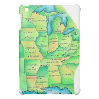 Map of Central United States Cover For The iPad Mini