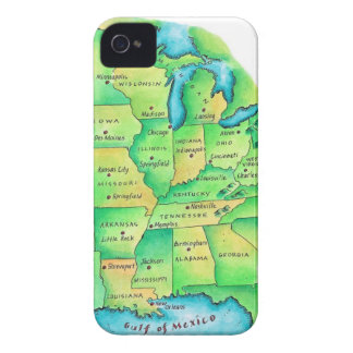 Map of Central United States iPhone 4 Covers
