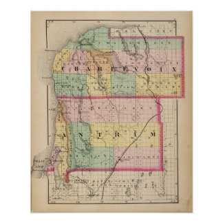 Map of Charlevoix and Antrim counties, Michigan Poster