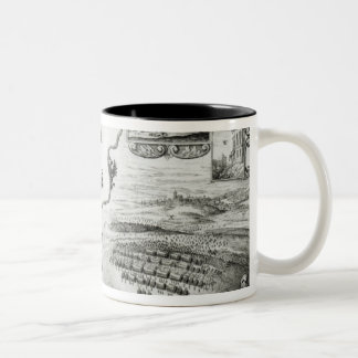 Map of Civil War England and a view of Prague Two-Tone Coffee Mug