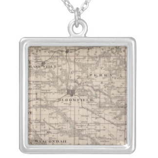 Map of Davis County, State of Iowa Silver Plated Necklace