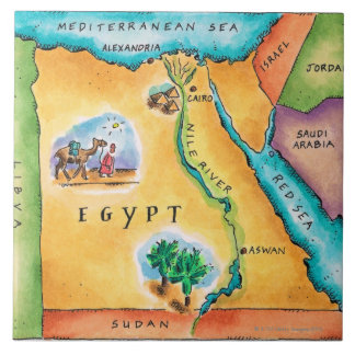 Map of Egypt Large Square Tile