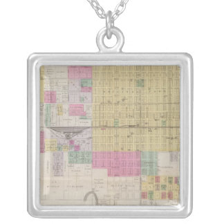 Map of Emporia, Kansas Silver Plated Necklace