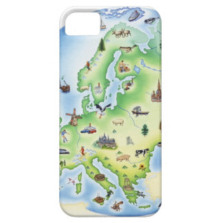 Map of Europe with illustrations of famous Barely There iPhone 5 Case