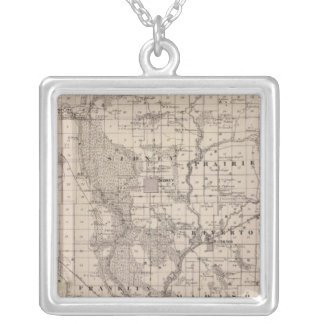 Map of Fremont County, State of Iowa Silver Plated Necklace