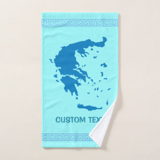 Map of Greece Bath Towel Set