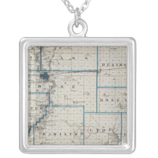 Map of Hamilton County, State of Iowa Silver Plated Necklace