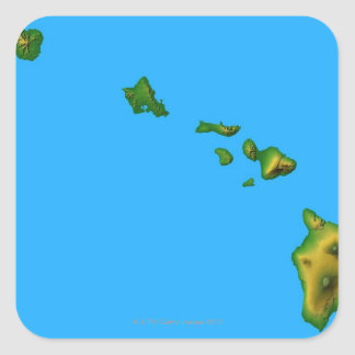 Map of Hawaii Square Sticker