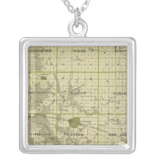 Map of Henry County, State of Iowa Silver Plated Necklace