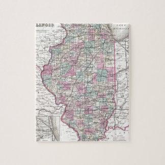 Map of Illinois, Joseph Hutchins Colton Jigsaw Puzzle