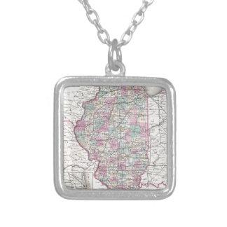 Map of Illinois, Joseph Hutchins Colton Square Pendant Necklace