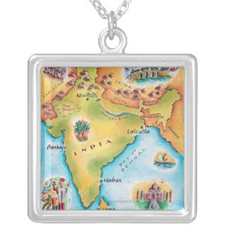 Map of India Silver Plated Necklace