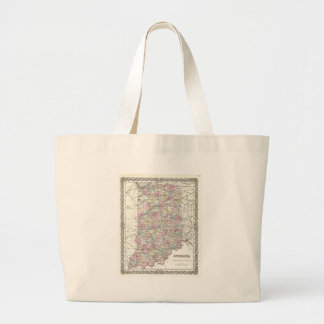 Map of Indiana. Joseph Hutchins Colton Large Tote Bag