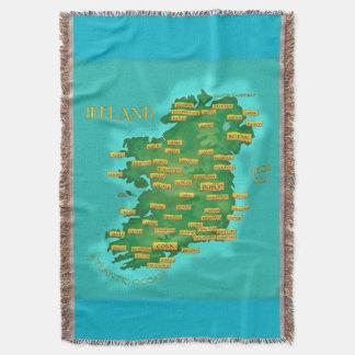 Map Of Ireland Throw Blanket