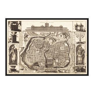 Map of Jerusalem (Ierusalem) circa 1770 Canvas Print