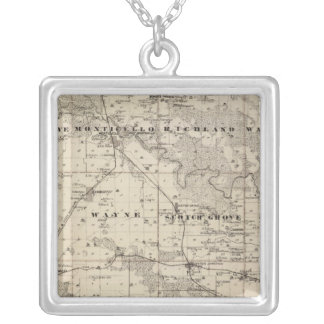 Map of Jones County, State of Iowa Silver Plated Necklace