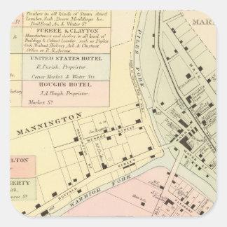 Map of Mannington, West Virginia Square Sticker