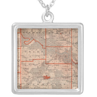 Map of Marion County, State of Iowa Silver Plated Necklace