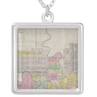 Map of Marion, Marion County, Kansas Silver Plated Necklace