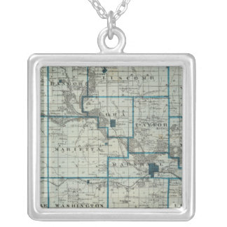 Map of Marshall County, State of Iowa Silver Plated Necklace