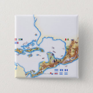 Map of Mexico, Central America and Caribbean 15 Cm Square Badge