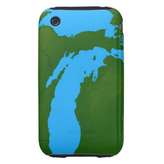 Map of Michigan 3 Tough iPhone 3 Cover