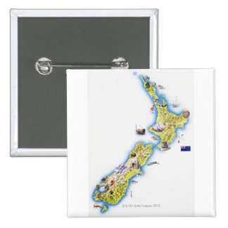 Map of New Zealand 15 Cm Square Badge