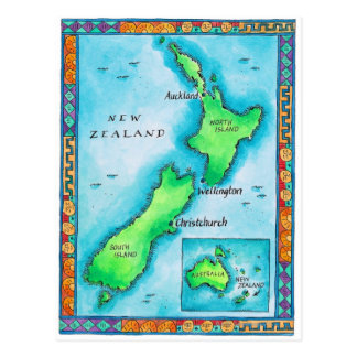 Map of New Zealand 2 Postcard