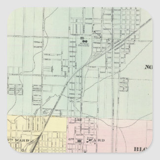 Map of Normal, Bloomington Square Sticker