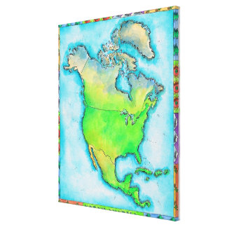 Map of North America 2 Canvas Print
