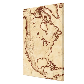 Map of North America 4 Stretched Canvas Print