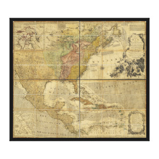 Map of North America by Emanuel Bowen (1755) Canvas Print