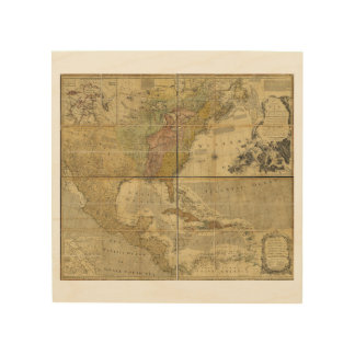 Map of North America by Emanuel Bowen (1755) Wood Canvases