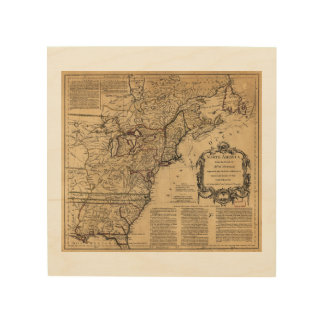 Map of North America by Jefferys & Anville (1755) Wood Wall Decor