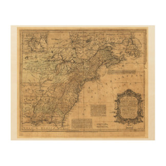 Map of North America by Thomas Kitchin (1755) Wood Prints