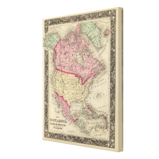 Map Of North America Stretched Canvas Print