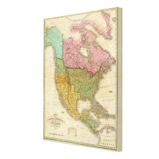 Map of North America Canvas Print