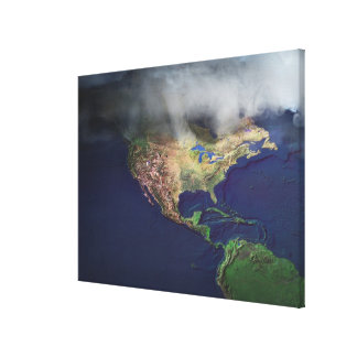 Map of North America with fog Stretched Canvas Print