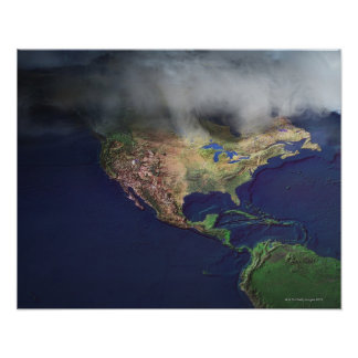 Map of North America with fog Poster