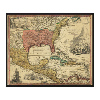 Map of North & Central America by J Homann (1759) Canvas Print