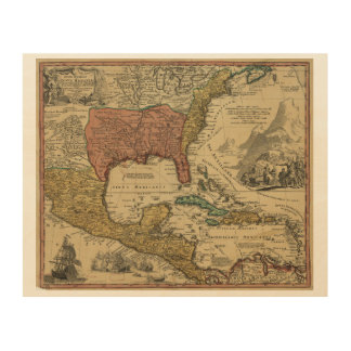 Map of North & Central America by J Homann (1759) Wood Canvases
