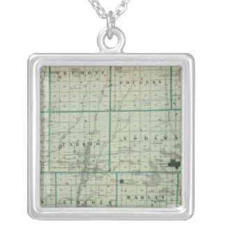 Map of Page County, State of Iowa Silver Plated Necklace