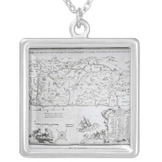 Map of Palestine, from a Passover Haggadah Silver Plated Necklace