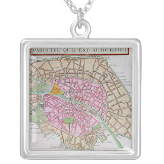 Map of Paris, June 1800 Silver Plated Necklace