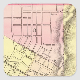 Map of Parkersburg, West Virginia Square Sticker