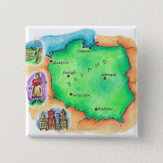 Map of Poland 15 Cm Square Badge