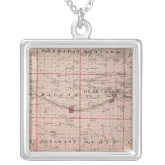 Map of Poweshiek County, State of Iowa Silver Plated Necklace